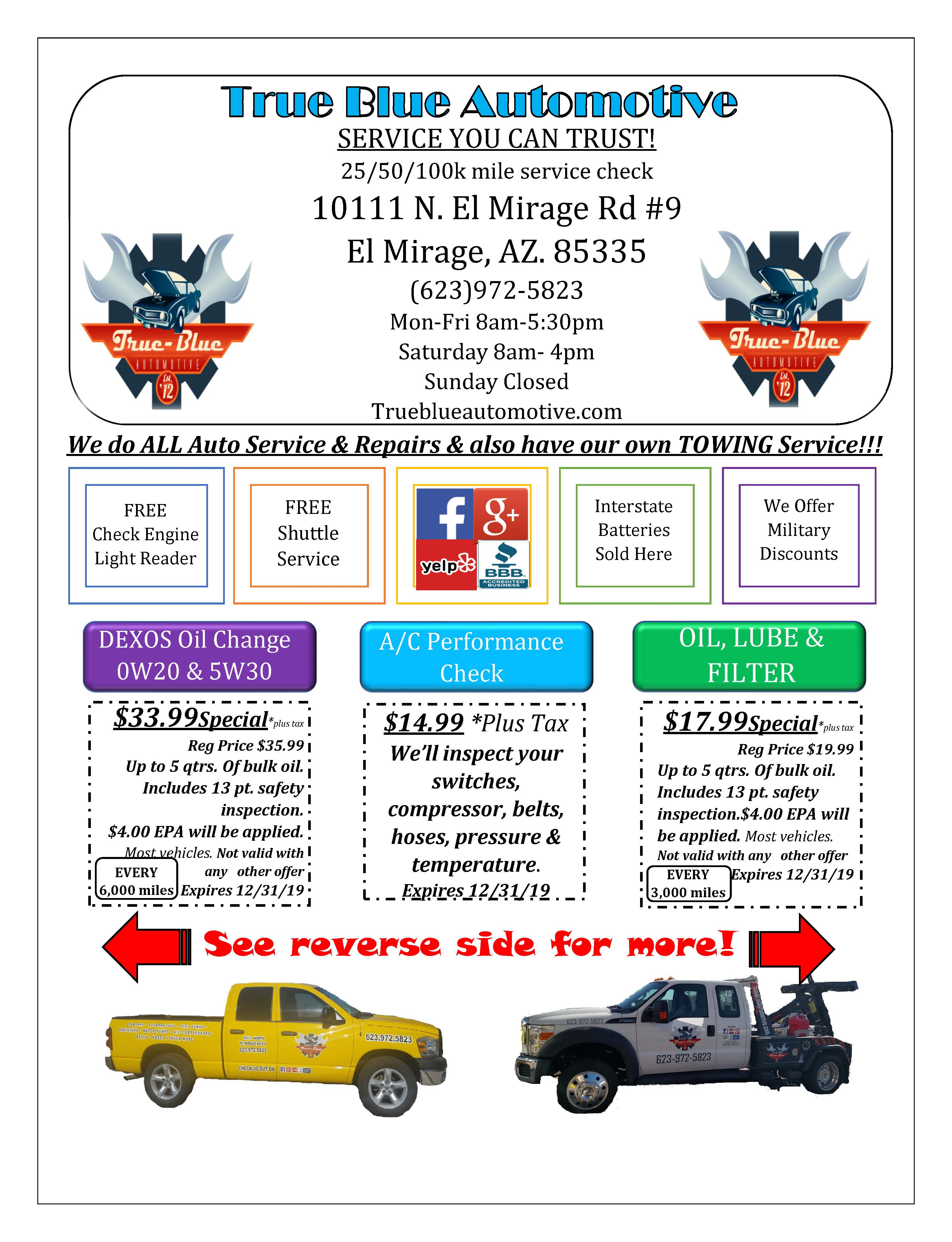 Tune Up Coupons >> Coupons True Blue Automotive